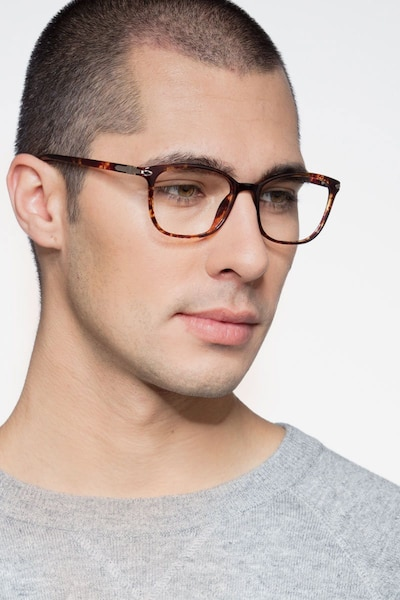 Nola Brown Plastic Eyeglass Frames for Men from EyeBuyDirect, Front View