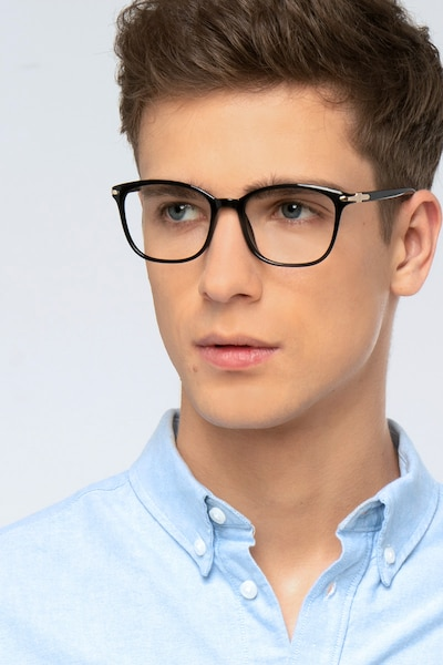 Nola Black Plastic Eyeglass Frames for Men from EyeBuyDirect, Front View