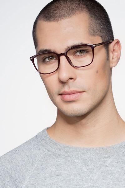 Nola Dark Red Plastic Eyeglass Frames for Men from EyeBuyDirect, Front View