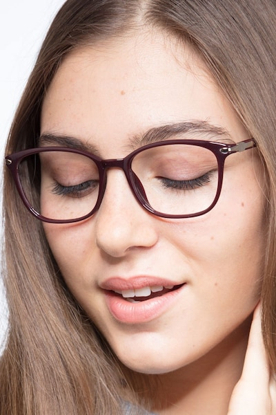 Nola Dark Red Plastic Eyeglass Frames for Women from EyeBuyDirect