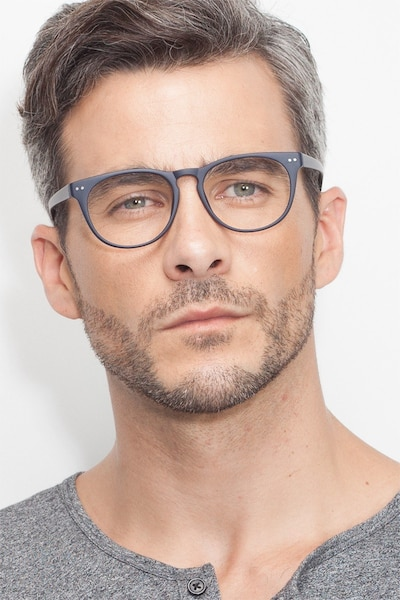 Brick Lane Matte Navy Plastic Eyeglass Frames for Men from EyeBuyDirect