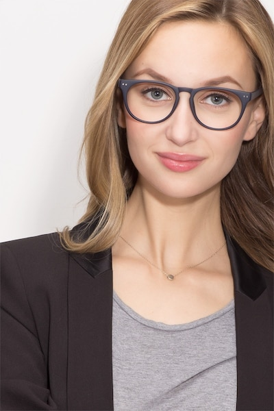 Brick Lane Matte Navy Plastic Eyeglass Frames for Women from EyeBuyDirect, Front View