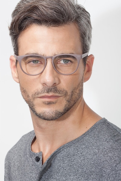 Brick Lane Matte Brown Plastic Eyeglass Frames for Men from EyeBuyDirect, Front View