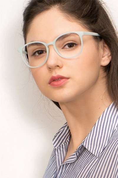 Dutchess Light Blue Plastic Eyeglass Frames for Women from EyeBuyDirect, Front View