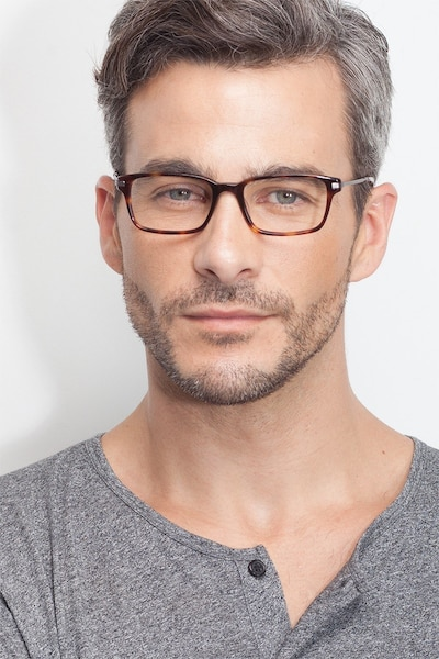 Dreamer Tortoise Acetate Eyeglass Frames for Men from EyeBuyDirect, Front View