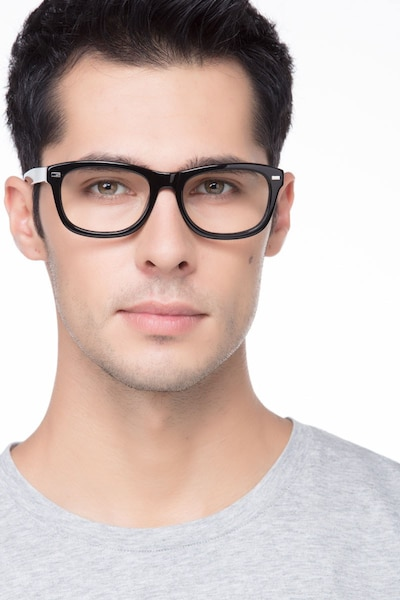 Cage  Black  Acetate Eyeglass Frames for Men from EyeBuyDirect, Front View