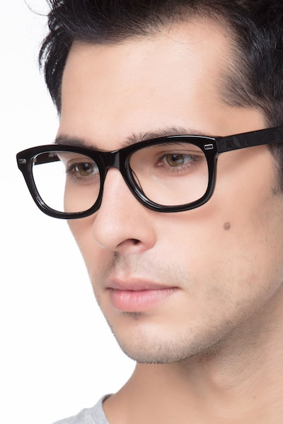 Cage  Black  Acetate Eyeglass Frames for Men from EyeBuyDirect