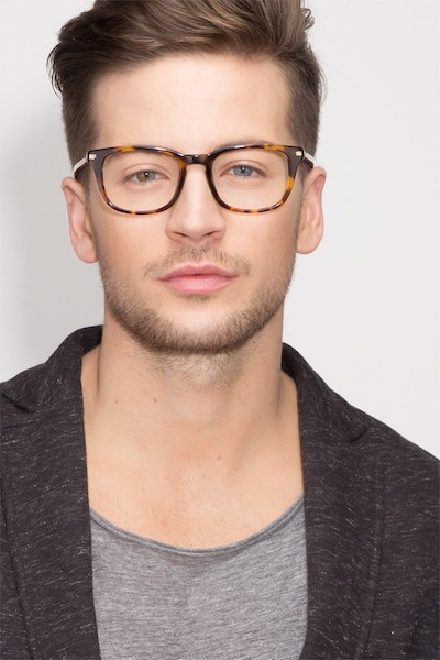 Infinity Tortoise Acetate Eyeglass Frames for Men from EyeBuyDirect, Front View