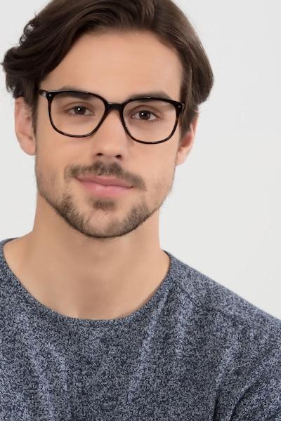 Lisbon Écaille Noire Acétate Montures de Lunettes pour Hommes d'EyeBuyDirect, Vue de Face