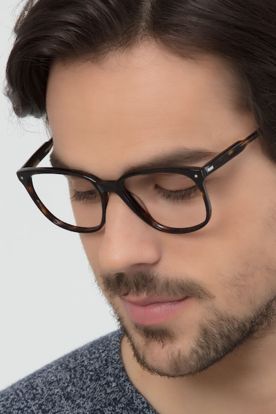 Lisbon Dark Tortoise Acetate Eyeglass Frames for Men from EyeBuyDirect