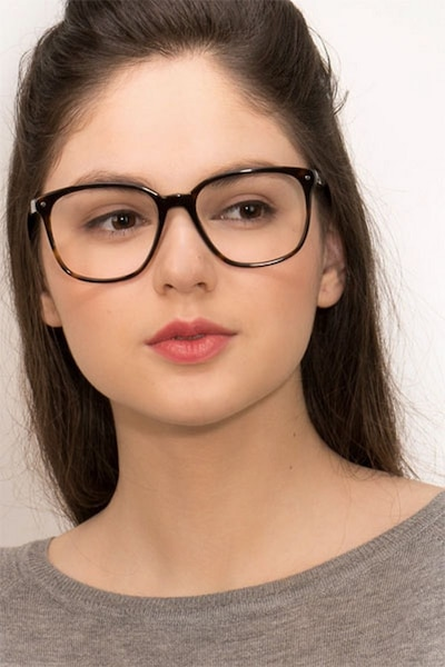 Lisbon Dark Tortoise Acetate Eyeglass Frames for Women from EyeBuyDirect, Front View