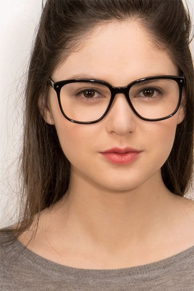 Lisbon Black Acetate Eyeglass Frames for Women from EyeBuyDirect, Front View