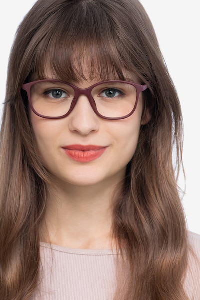 Saint Lou Burgundy Plastic Eyeglass Frames for Women from EyeBuyDirect, Front View