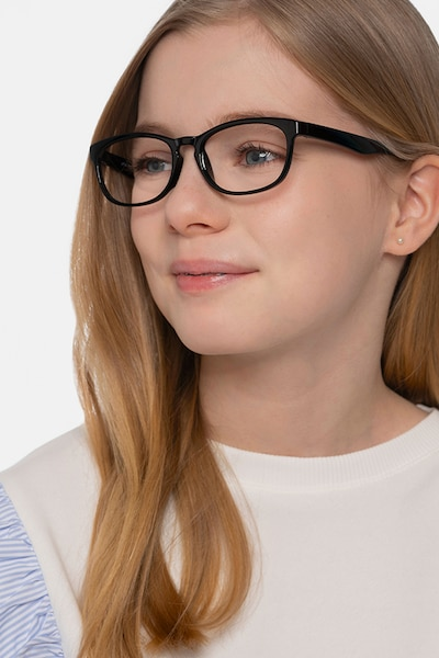 Little Drums Black Plastic Eyeglass Frames for Women from EyeBuyDirect, Front View