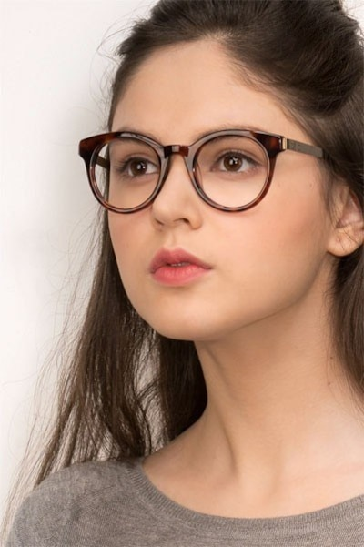 Venus Brown Tortoise Acetate Eyeglass Frames for Women from EyeBuyDirect, Front View