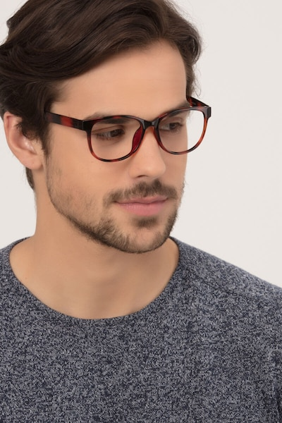Warren Brown Plastic Eyeglass Frames for Men from EyeBuyDirect, Front View
