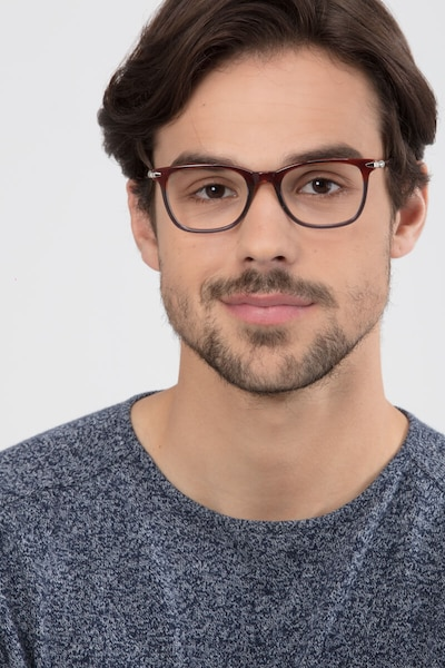 Rooibos Brown Acetate Eyeglass Frames for Men from EyeBuyDirect, Front View