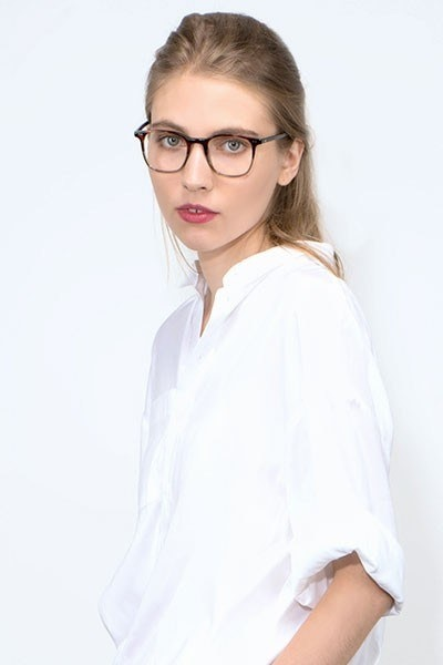 Sequence Charred Quartz Acetate Eyeglass Frames for Women from EyeBuyDirect, Front View