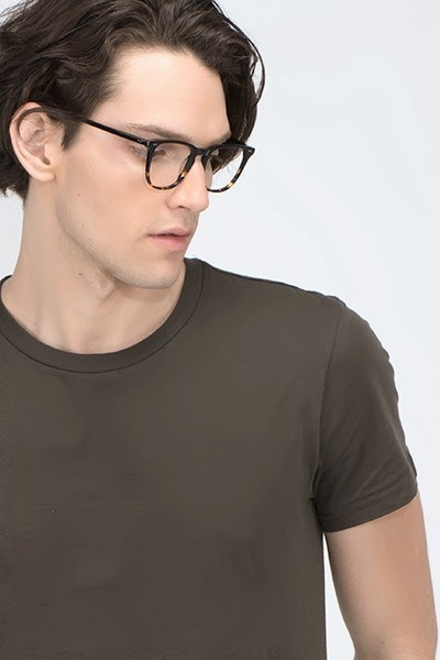 Exposure Jet Amber Acetate Eyeglass Frames for Men from EyeBuyDirect, Front View