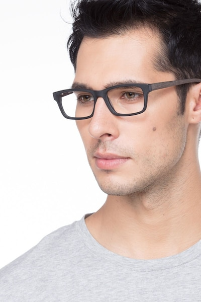 Emory  Black Coffee Acetate Eyeglass Frames for Men from EyeBuyDirect, Front View