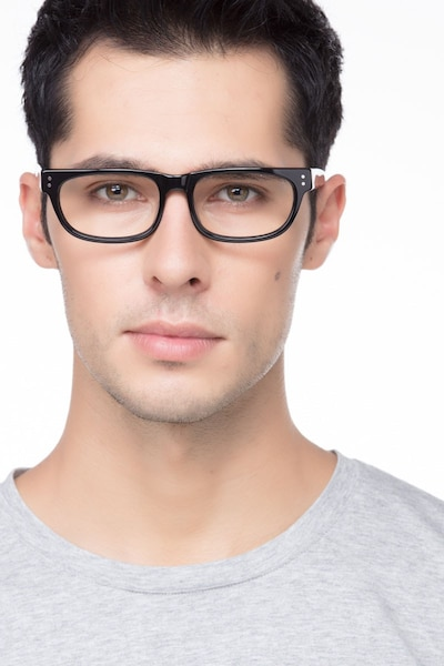 Oslo Black Acetate Eyeglass Frames for Men from EyeBuyDirect, Front View