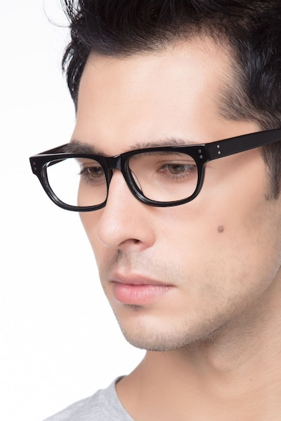 Oslo Black Acetate Eyeglass Frames for Men from EyeBuyDirect