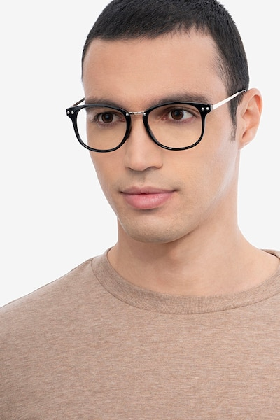 Cosmo Black Metal Eyeglass Frames for Men from EyeBuyDirect, Front View