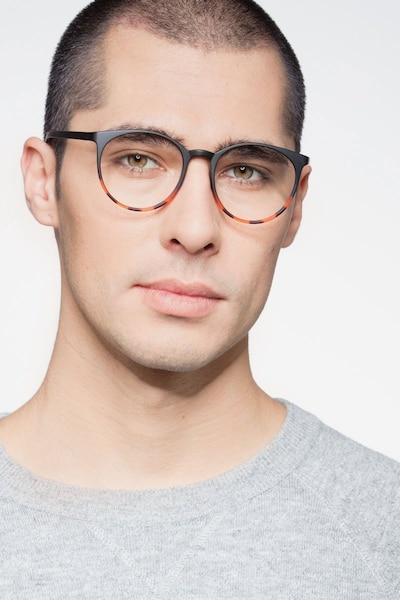Portrait Black Tortoise Plastic Eyeglass Frames for Men from EyeBuyDirect, Front View