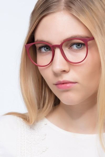 Portrait Matte Red Plastic Eyeglass Frames for Women from EyeBuyDirect, Front View