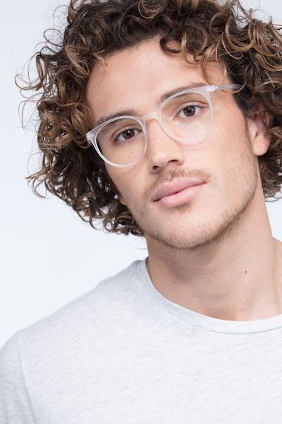 Portrait Matte Clear Plastic Eyeglass Frames for Men from EyeBuyDirect, Front View