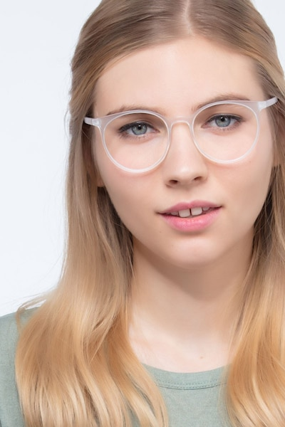Portrait Matte Clear Plastic Eyeglass Frames for Women from EyeBuyDirect, Front View