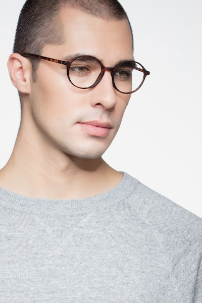 Poetic Matte tortoise Plastic Eyeglass Frames for Men from EyeBuyDirect, Front View