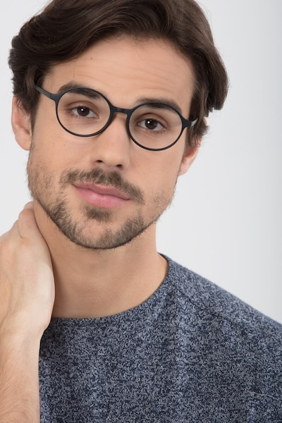 Poetic Matte Black Plastic Eyeglass Frames for Men from EyeBuyDirect, Front View