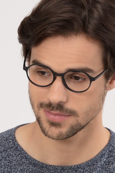 Poetic Matte Black Plastic Eyeglass Frames for Men from EyeBuyDirect