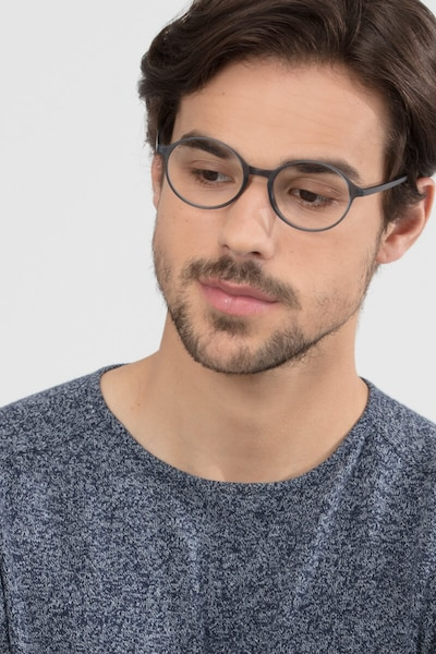 Poetic Matte Gray  Plastic Eyeglass Frames for Men from EyeBuyDirect, Front View