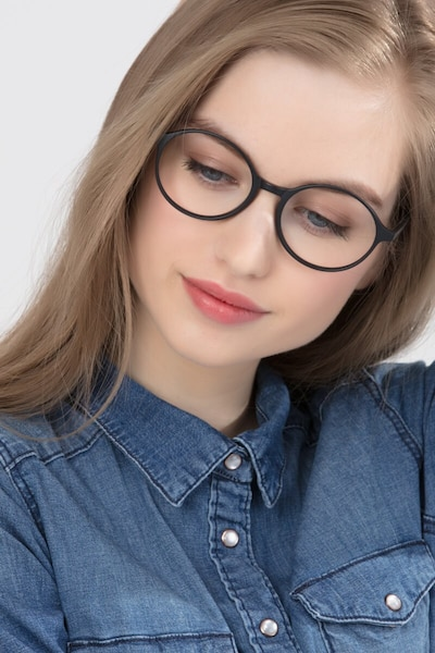 Poetic Matte Gray  Plastic Eyeglass Frames for Women from EyeBuyDirect, Front View