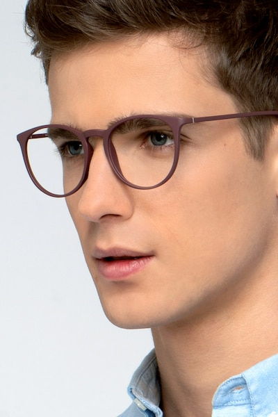 Dialogue Aubergine Plastic Eyeglass Frames for Men from EyeBuyDirect