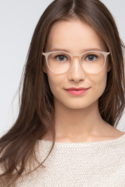 Dialogue Matte Clear Plastic Eyeglass Frames for Women from EyeBuyDirect, Front View
