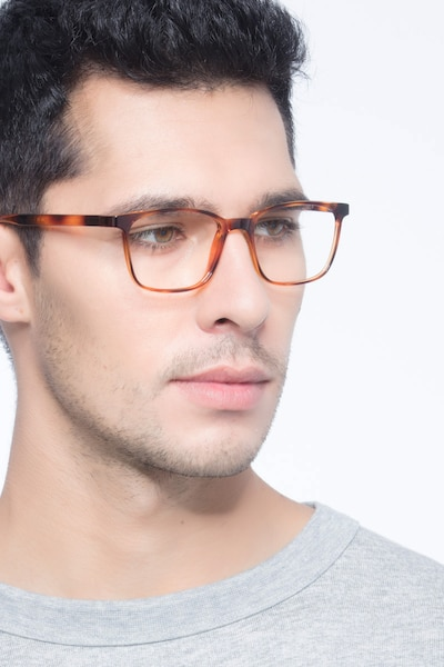 Soul Black Brown Plastic Eyeglass Frames for Men from EyeBuyDirect, Front View