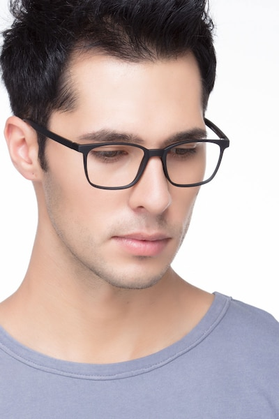 Soul Black Plastic Eyeglass Frames for Men from EyeBuyDirect, Front View