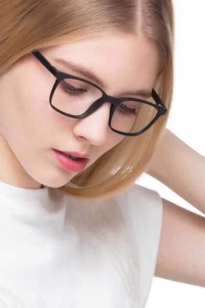 Soul Black Plastic Eyeglass Frames for Women from EyeBuyDirect, Front View
