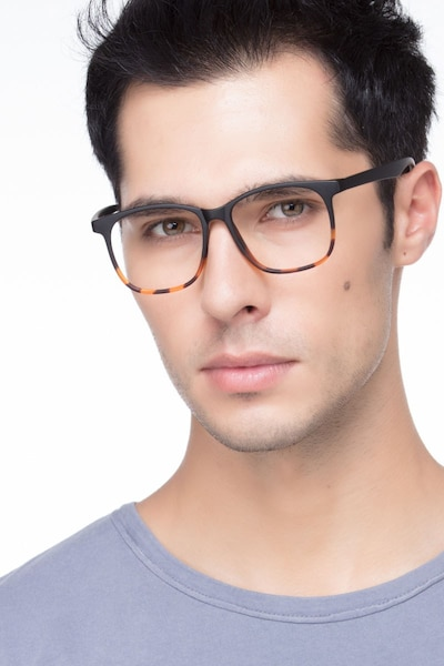 Character Black Tortoise Plastic Eyeglass Frames for Men from EyeBuyDirect, Front View