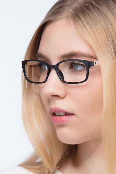 Clover Black & Apricot Plastic Eyeglass Frames for Women from EyeBuyDirect