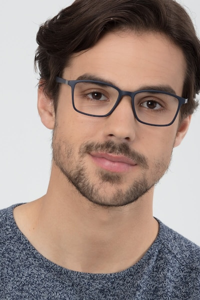 Northern Matte Navy Plastic Eyeglass Frames for Men from EyeBuyDirect