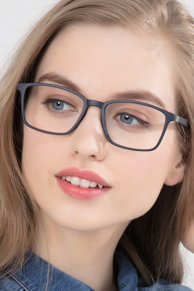 Northern Matte Navy Plastic Eyeglass Frames for Women from EyeBuyDirect