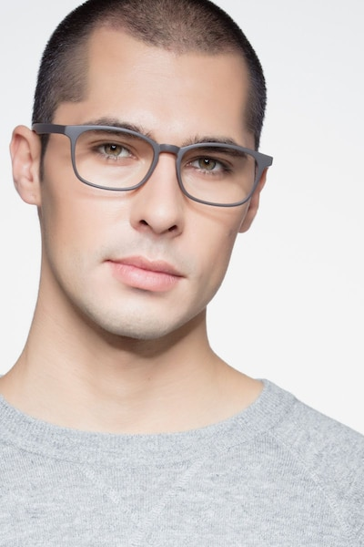 Forest Matte Brown Plastic Eyeglass Frames for Men from EyeBuyDirect, Front View