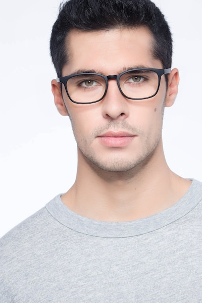 Forest Matte Black Plastic Eyeglass Frames for Men from EyeBuyDirect, Front View