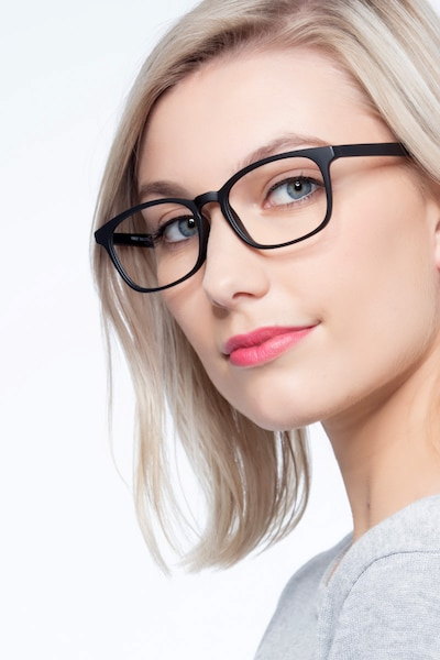Forest Matte Black Plastic Eyeglass Frames for Women from EyeBuyDirect, Front View