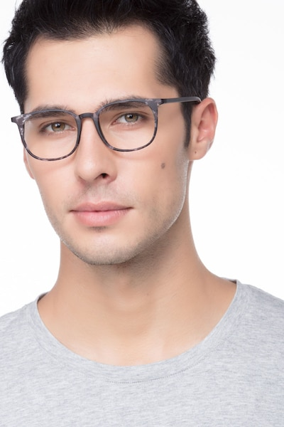 Cheer Swirled Gray Plastic Eyeglass Frames for Men from EyeBuyDirect, Front View