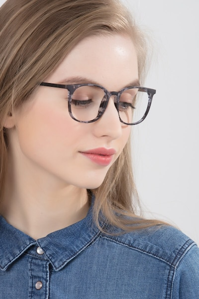 Cheer Swirled Gray Plastic Eyeglass Frames for Women from EyeBuyDirect, Front View